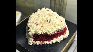 Eggless Red Velvet Love Cake in Cooker with Buttercream Frosting - Without Oven Cake Recipe #279