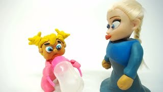 Baby Elsa Frozen Time to Sleep play doh stop motion cartoon for little Kids