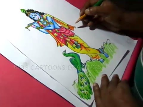 How to Lord Little krishna Drawing for kids Step By Step