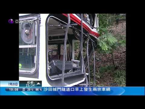 兩輪九巴49X在城門隧道相近位置先後發生意外