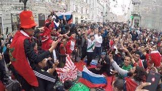 Les fans du Maroc aux championnats du monde en Russie 2018 avant le match du Maroc Iran
