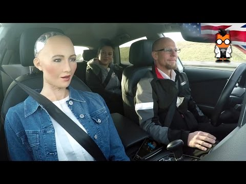 Robot Meets Self Driving Car Sophia by Hanson & Jack by Audi