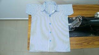 Girls uniform shirt cutting and stitching easy method(DIY) part - 1