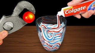 EXPERIMENT: GLOWING 1000 DEGREE METAL BALL VS TOOTHPASTE