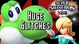 Super Smash Bros 3DS Huge GLITCHES! Big Yoshi, Giant Girls & Crazy Clipping!
