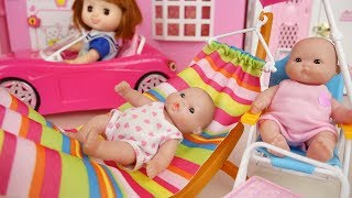 Picnic Baby doli and pink car toys baby doll hammock chair play