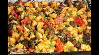 تبسي بطاطا وخضار مشوية في الفرن بدون لحم ولا دجاج بتتبيلة بسيطة ولذيذة مع رباح ( الحلقة 422 )