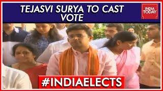 Bengaluru South Newbie Tejasvi Surya Waits In Line To Cast His Vote | Lok Sabha Elections