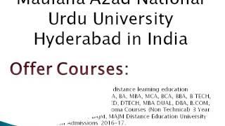 Maulana Azad National Urdu University Distance Education Hyderabad