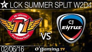 SKT T1 vs CJ Entus - LCK Summer Split 2016 - W2D4