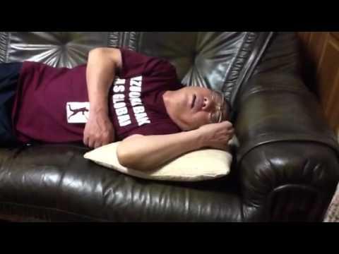 Sleeping Japanese old man