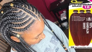Tribal Feed In Braids with Beads | 3X Que Jumbo Pre-Stretched Braid