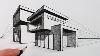 How to Draw a House in Two Point Perspective: Modern House