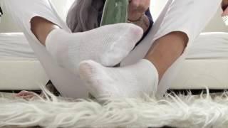 Footjob in White Socks Feetfetish Mistress Goddess
