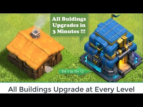 UPGRADE ALL BUILDINGS in 3 Minutes Clash of Clans All Buildings Upgrades in Every Level