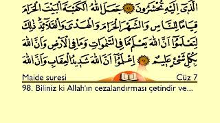 Holy Quran With Arabic and Turkish Text: Juz 7