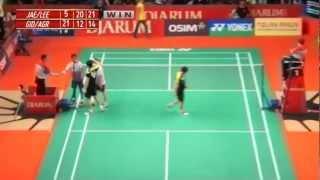 Jae Sun J./Yong Dae L.(KOR) VS Gideon Markus F./ Agripinna Prima R. (INA) Djarum Indonesia Open 2012