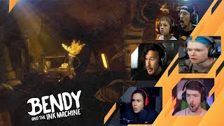 Gamers Reactions to Giant Bendy Hand | Bendy and The Ink Machine - Chapter 5