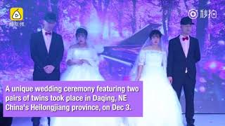 Double happiness: Twin sisters marry twin brothers in NE China