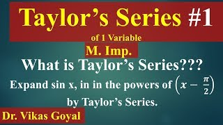 Taylor's Series #1 of One Variable In Hindi (M.Imp) | Engineering Mathematics