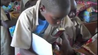 African kids that got new supplies for school