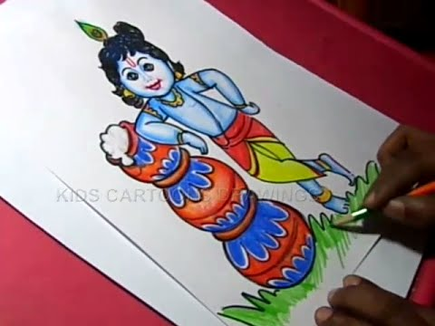 How to Draw Lord Little krishna Color Drawing for Kids Step by step