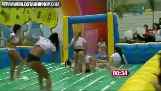 Funny Sexy Babes Playing Wet Football