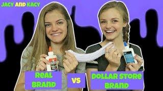 Real Brand vs Dollar Store Brand ~ Slime Challenge ~ Jacy and Kacy