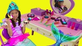 Emma Pretend Play Dress Up Disney Princess Ariel Little Mermaid Tail Makeup Girl Toys