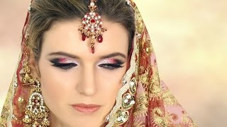 White, Red, Black Glitter Asian Bridal Makeup - Indian, Pakistani Wedding Reception