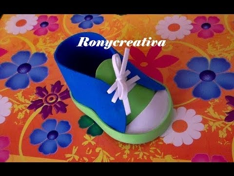 ZAPATITOS DE NIÑO EN FOAMY O GOMA EVA PARA BABY SHOWER BABY SHOWER SHOE DIY