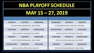 NBA Playoff Schedule on May 15-27, 2019
