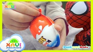 Kinder Joy Surprise Eggs and Learn Colors for Children Kids Baby spiderman candy toys
