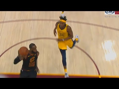 LeBron James Stares Down Myles Turner While Dunking For Pushing Him