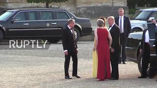 UK: Trump arrives at Blenheim Palace for welcome ceremony