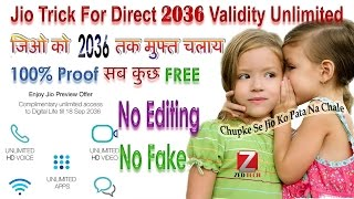 1 YEAR UNLIMITED | 20 Years 4G IN JIO SIM FOR ALL MOBILE Trick**Live**Proof**Jio New Year Offer 2017