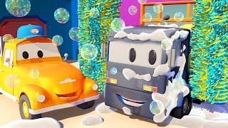 Tom the TOW TRUCK'S Car Wash and Christopher the CONCRETE MIXER | TRUCK CARTOONS for KIDS