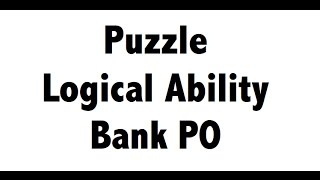 puzzle test reasoning tricks for bank PO - IBPS SBI