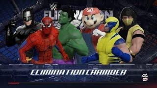 WWE 2K16 wtf elimination chamber spiderman vs hulk vs batman vs mario vs wolverine vs scorpion