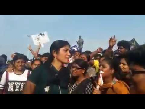 Young Tamil Girls Protest in Marina Protest