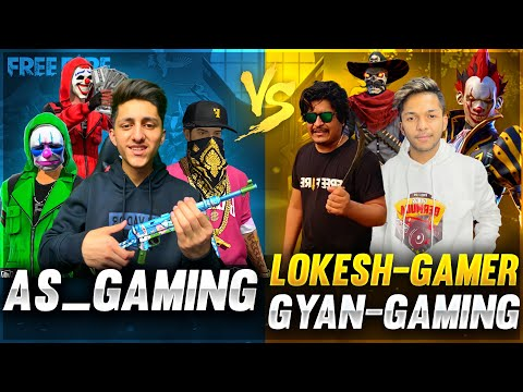 As Gaming Vs Lokesh Gamer & Gyan Gaming Best Clash Squad Battle 😍 Who Will Win Garena Free Fire