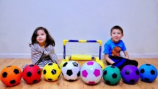 Learn Colors Playing with Colored Soccer Ball and Mini Net Toy for Children
