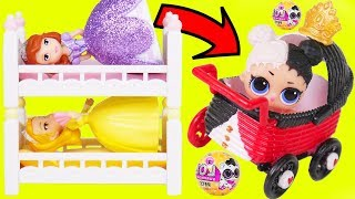 Sofia the First Morning Routine with Heartbreaker Baby Big LOL Surprise Dolls Strollers + Lil Sister