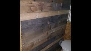 Making Rustic Pallet Wood Bathroom Wall In My Tiny Home
