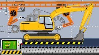 New Excavator - Toy Factory | Folding Excavator - Video For Kids | Fabryka Zabawek