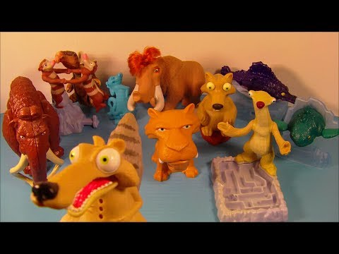 2005 ICE AGE 2 THE MELTDOWN SET OF 10 BURGER KING KID S MOVIE TOY S VIDEO REVIEW