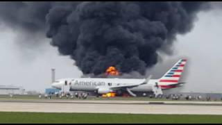 American Airlines flight on fire  Chicago O'Hare October 28th 2016