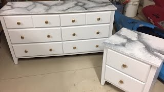 DIY Painted White Marble Dresser and Nightstand