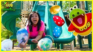Huge Easter Egg Hunt surprise toys challenge for kids with Ryan's Mommy at the Playground