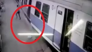 Shocking CCTV footage captures passengers leaping to safety after a speeding train derails